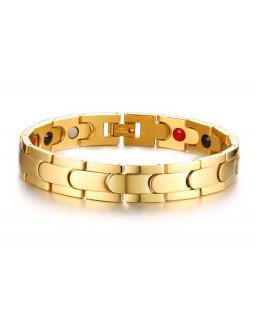 dd912cbe4d5 Pulseira Masculina Magnética Íon De Aço Inox Banhada A Ouro