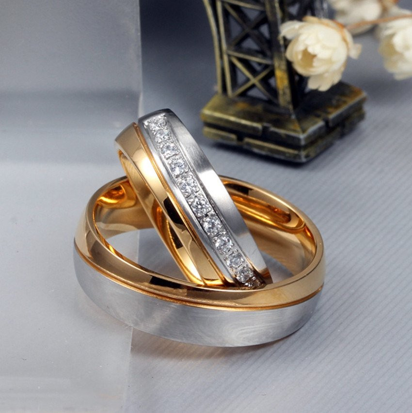 Aliança de aço banhada a ouro 18k e ouro branco 6mm