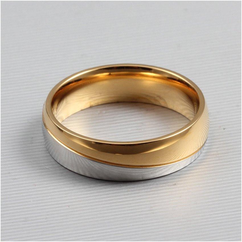 Aliança de aço banhada a ouro 18K mista 6mm