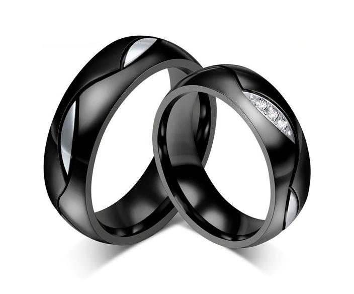 Aliança de aço preta e prata 6mm