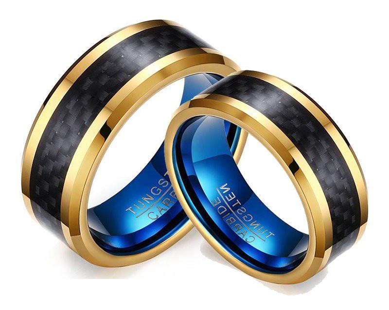 Aliançã de Tungstênio Preta Azul e Banhada a Ouro