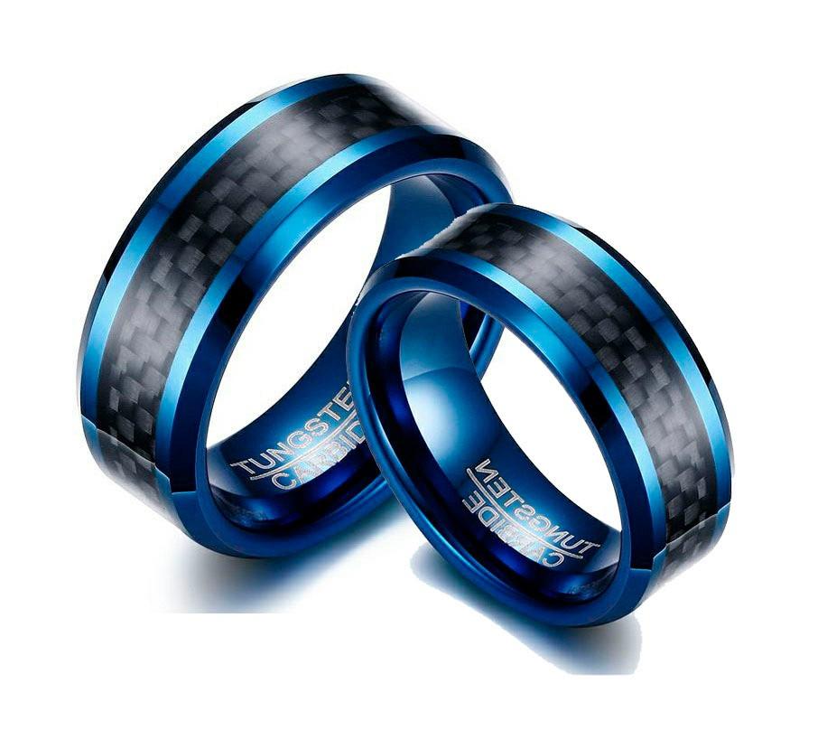 Aliança Tungstenio Preta e Azul