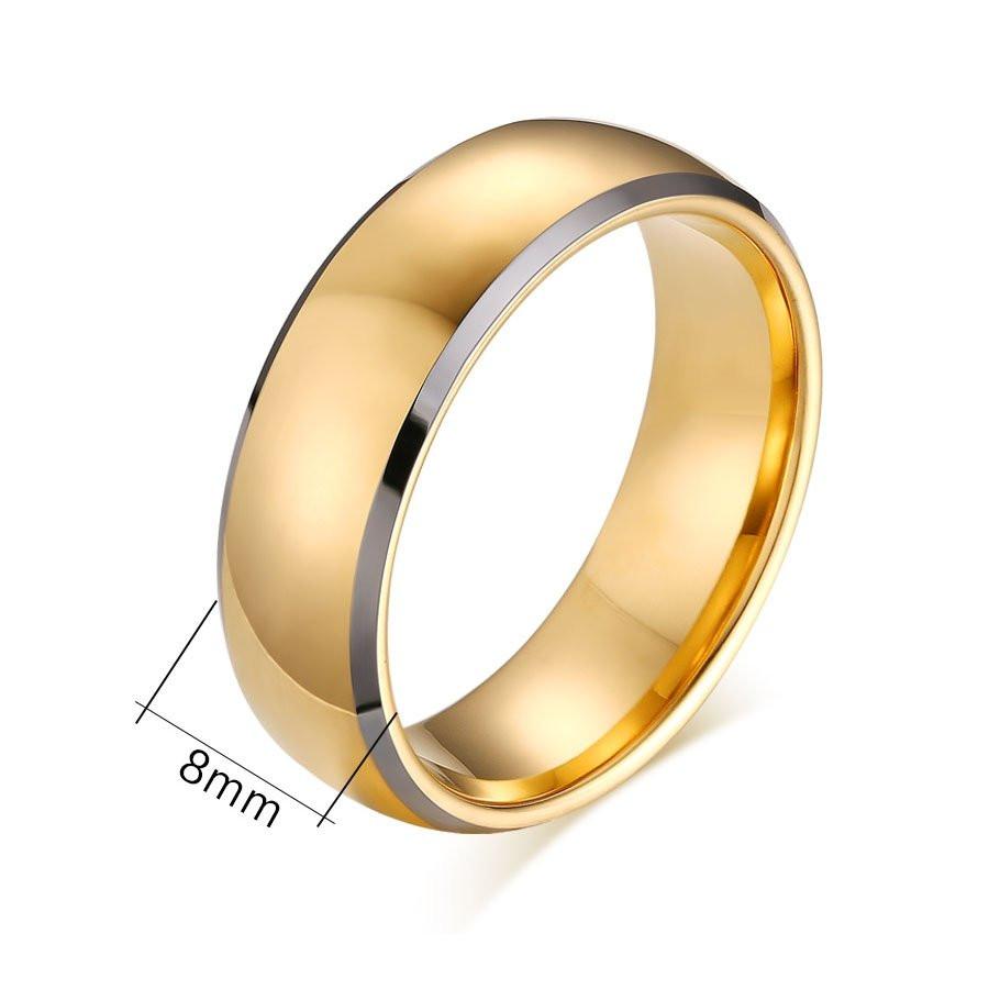 Aliança tungstenio banhada a ouro e ouro branco