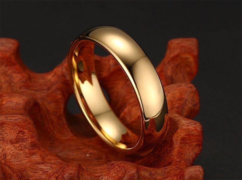 Aliança tungstenio banhada a ouro tradicional 6mm