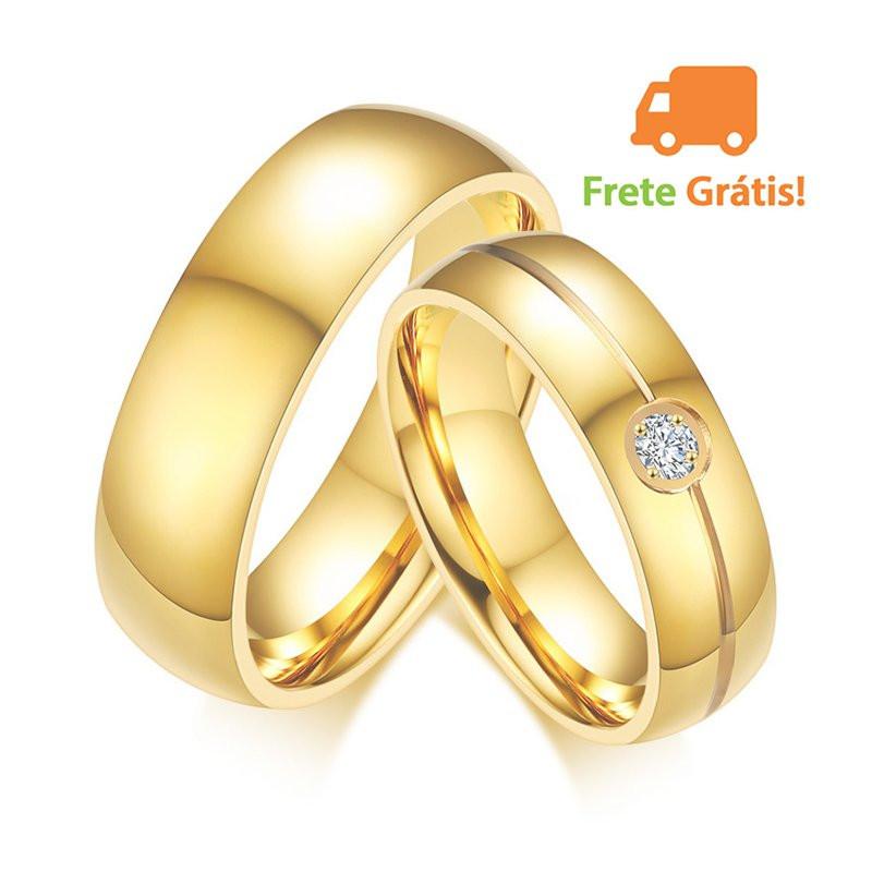 Aliança de Aço Inox Banhada a Ouro Pedra