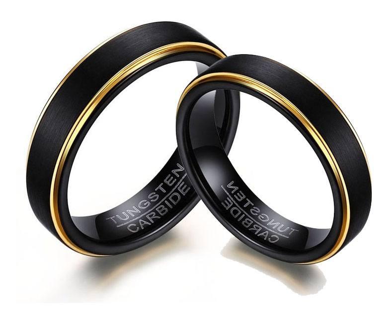 Aliança tungstênio preta banhada a ouro 5mm