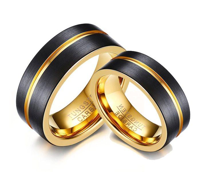 Par de Alianças Preta e Ouro Tungstênio