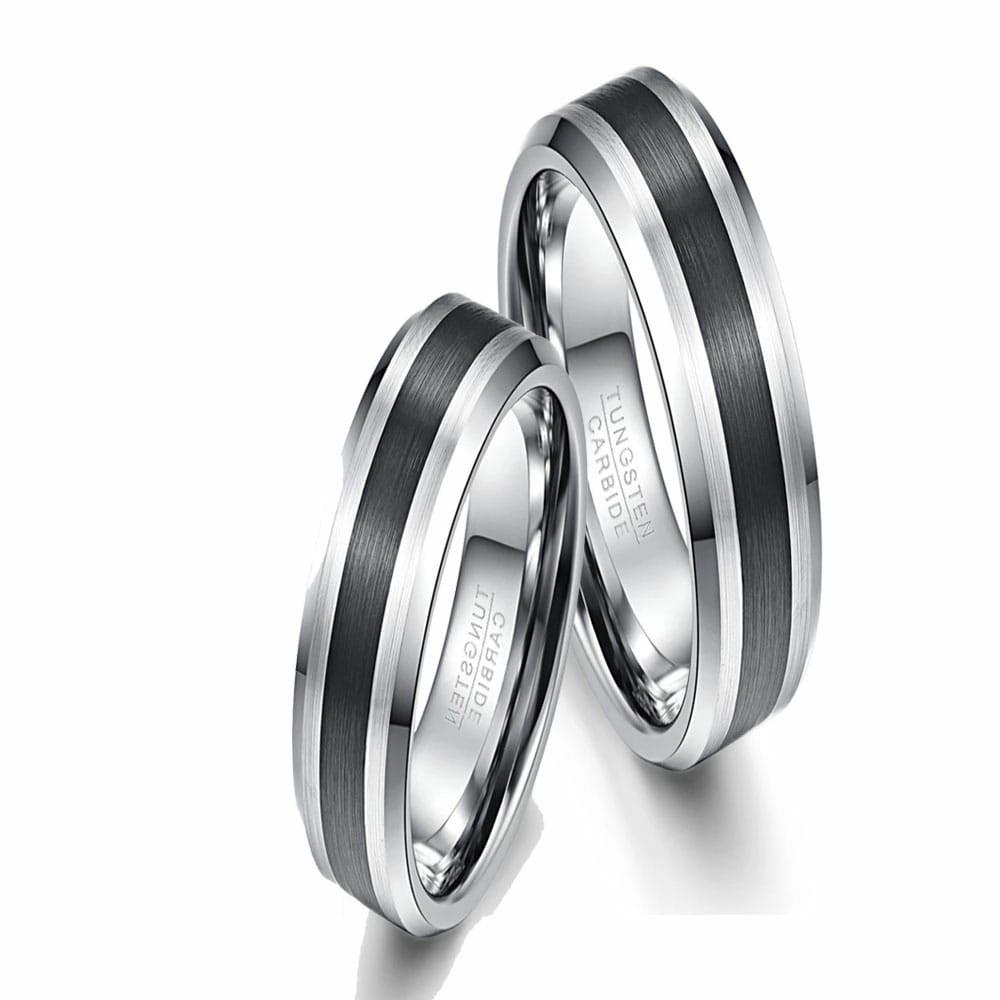 Aliança de Tungstênio Preta e Prata 6mm